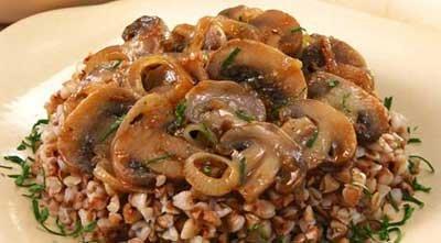 Запечёная каша с грибами