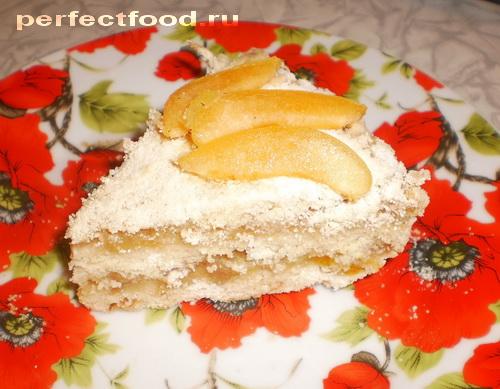 Насыпной пирог с яблоками и абрикосами