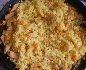 Соевое мясо с рисом
