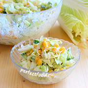 Салат из пекинской капусты с кукурузой. Рецепт с фото