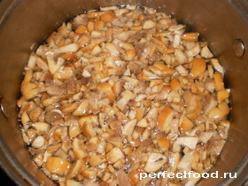 Отварить грибы для пирожков