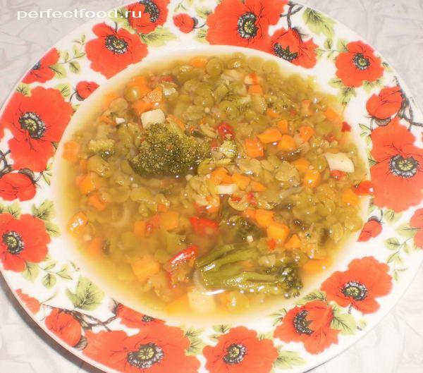 Овощной суп с колотым зелёным горохом