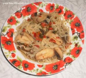 Рецепт приготовления рисовой лапши с грибами и овощами