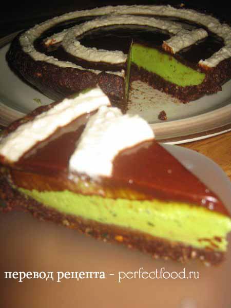 Сыроедческий шоколадный торт с мятой