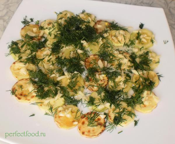 Рецепт жареных кабачков с чесноком и укропом