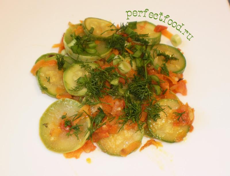 Приготовление кабачков тушёных с овощами