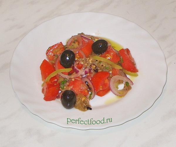 Салат из баклажанов с помидорами — фото-рецепт