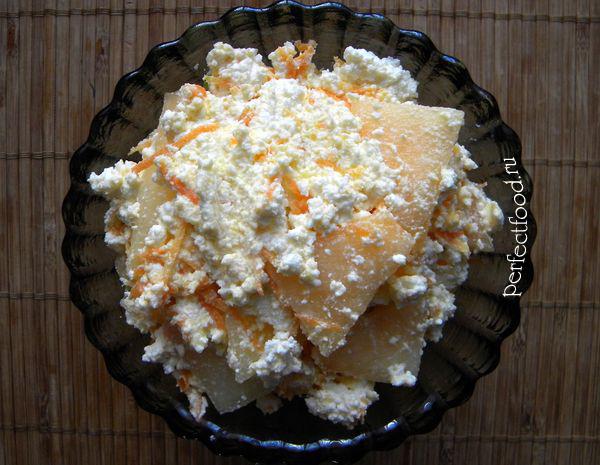 Десерт из дыни и творога