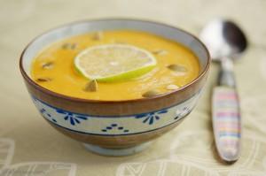 Тыквенный суп-пюре по-африкански с бананом