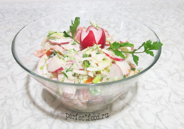 Рецепт приготовления салата из редиски