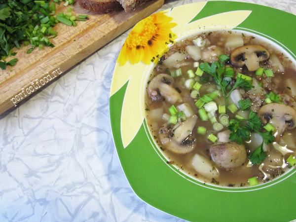 Постный гречневый суп с грибами — видео-рецепт