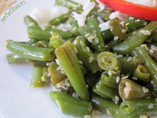 Зелёная стручковая фасоль с кунжутом — видео-рецепт