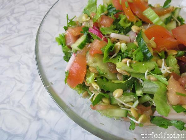 Вкусный витаминный салат из чечевицы - рецепт