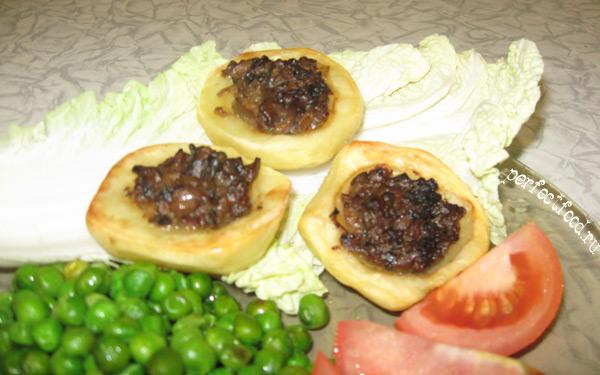 Картофельные корзиночки с грибами — рецепт для аэрогриля