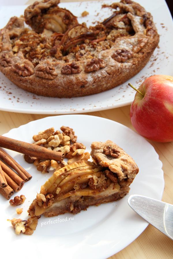 Постный пирог с яблоками и корицей - рецепт