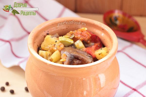 Запечённые в духовке овощи в горшочках с грибами
