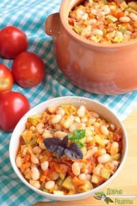 Фото-ркецепт приготовления фасоли с овощами