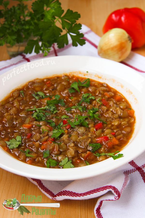 Болгарский вегетарианский суп из чечевицы — леща чорба