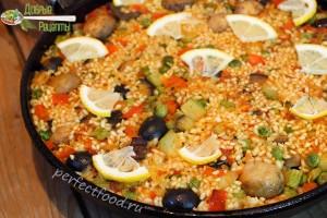 Вегетарианская паэлья с грибами - рецепт с фото