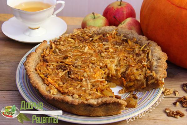 Пирог с тыквой и яблоками - рецепт с фото