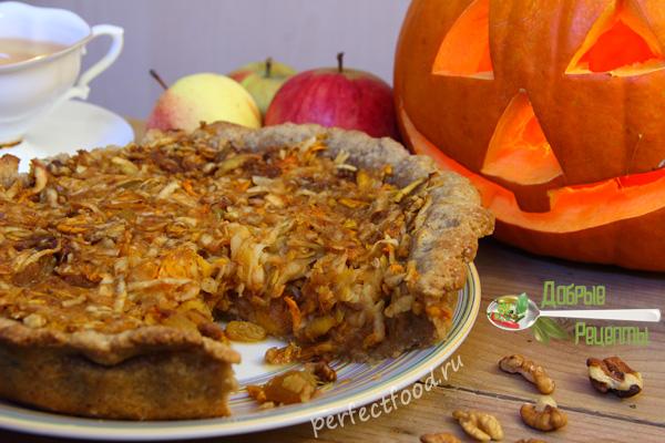 Пирог из тыквы и яблок - рецепт с фото