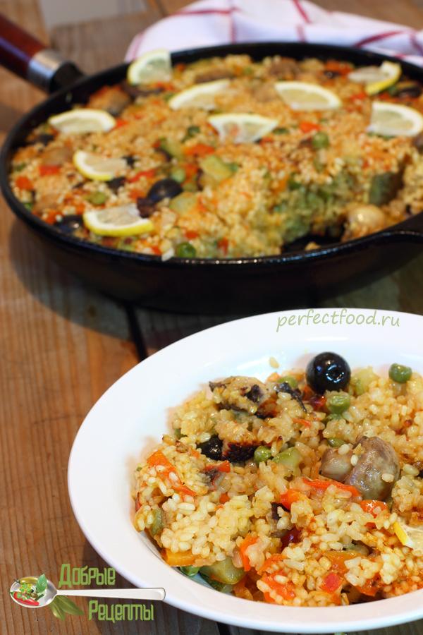 Вегетарианская паэлья с грибами — рецепт с фото и видео