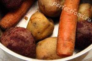 Отвариваем овощи для винегрета
