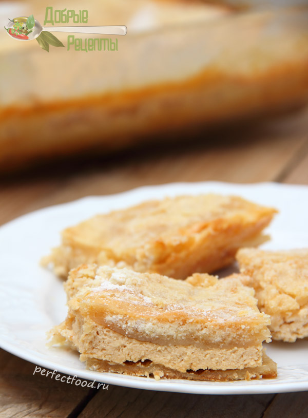 Насыпной пирог с творогом - рецепт с фото