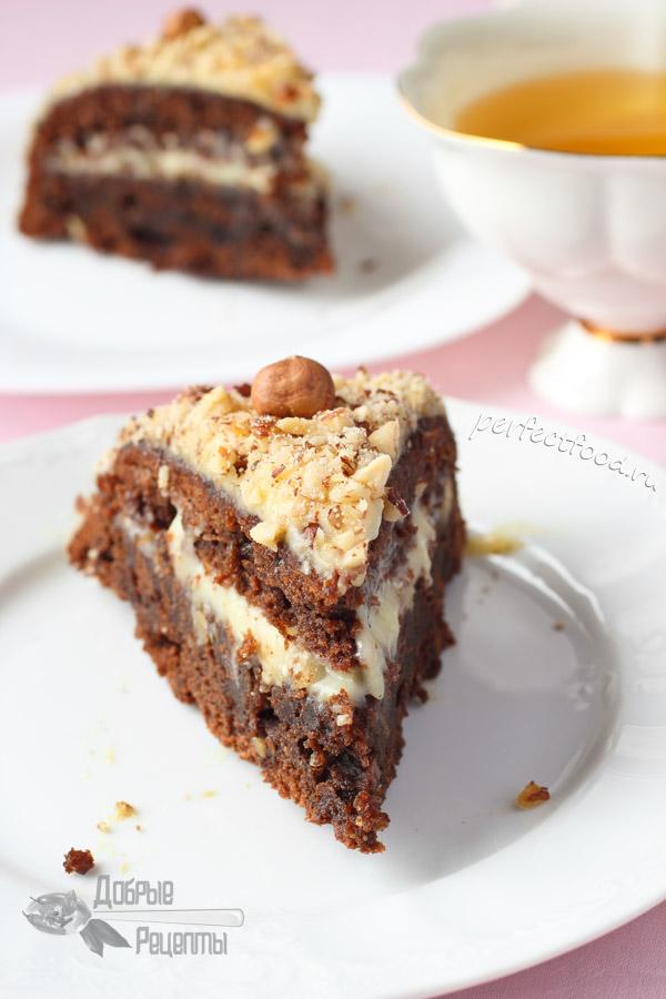 Вегетарианский торт без яиц с шоколадом и орехами