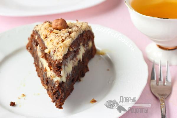 Шоколадно-ореховый торт без яиц - рецепт с фото