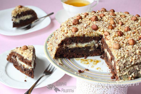Шоколадный торт с орехами - рецепт с фото