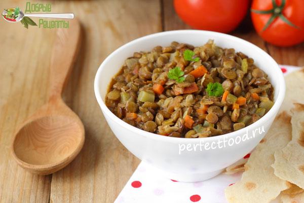 Тушёная чечевица с овощами