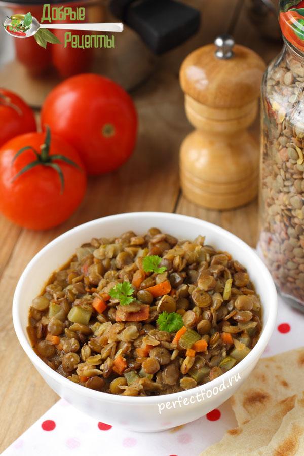 Тушёная чечевица - рецепт