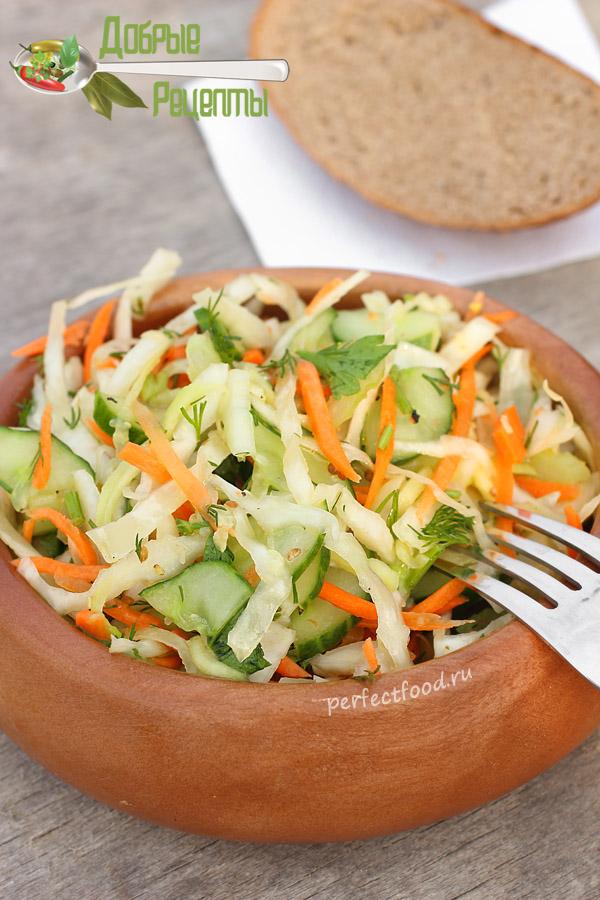 Салат из свежих кабачков и капусты