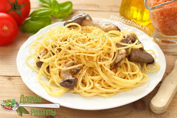 Спагетти и вёшенки - рецепт с фото