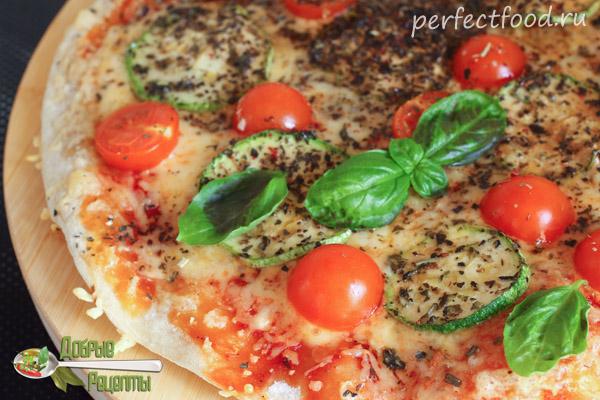 Тонкая пицца с овощами