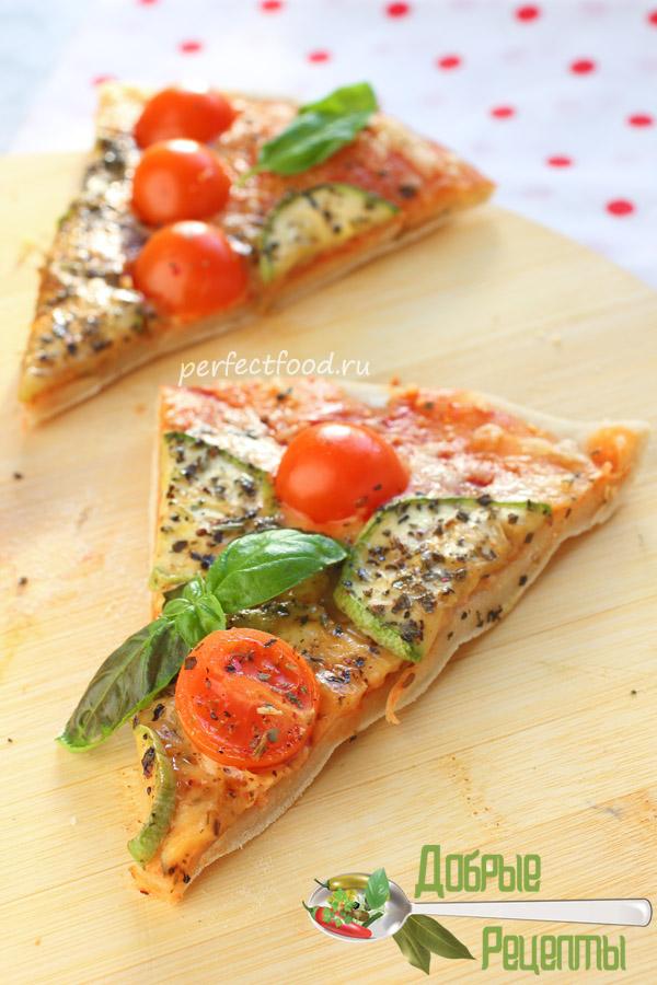 Вегетарианская пицца на тонком тесте - рецепт с фото