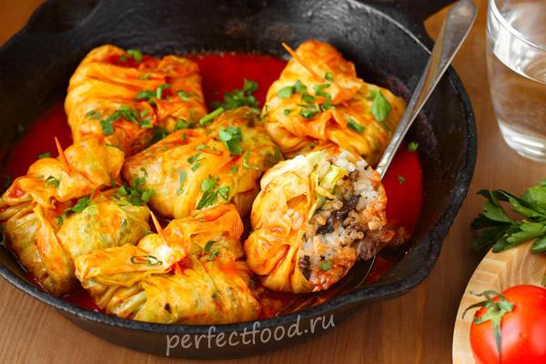Вегетарианские голубцы с рисом и грибами - фото-рецепт