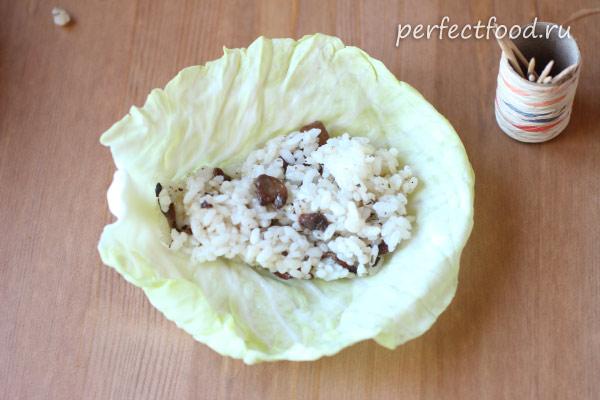 Вегетарианские голубцы с рисом и грибами - фото к рецепту