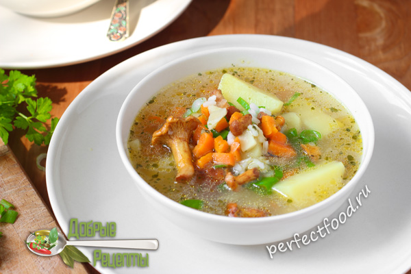 Грибной суп с лисичками - фото