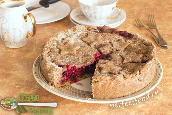 Пирог с чёрной смородиной и яблоками в разрезе