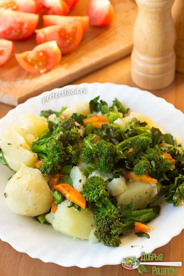 Тушёный картофель с брокколи - рецепт с фото и видео