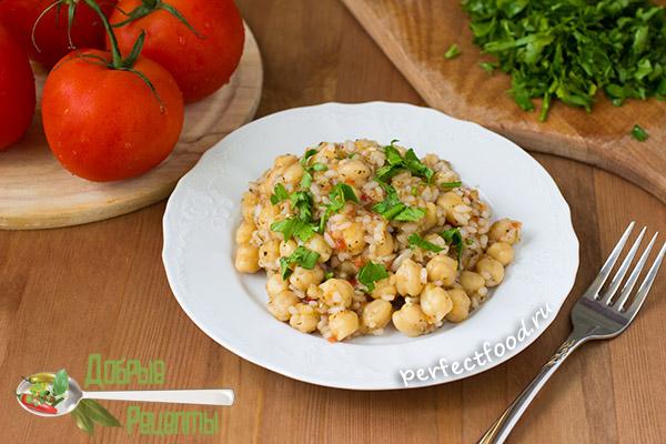 Рис с нутом и помидорами - постный рецепт с фото