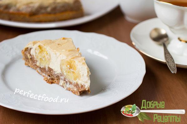 Творожно-банановый пирог - рецепт с фото