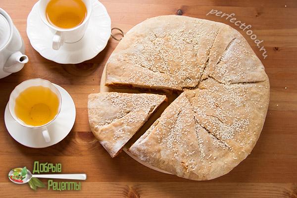 Вегетарианский капустный пирог без яиц