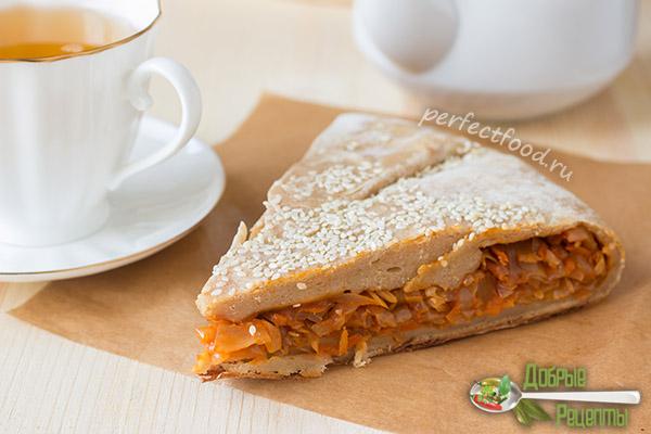 Пирог с капустой без яиц на творожном тесте - вегетарианский рецепт