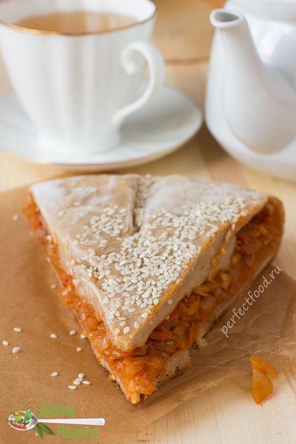 Вегетарианский пирог с капустой на творожном тесте - рецепт с фото и видео