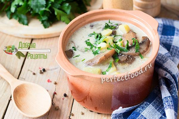 Картофельный суп с грибами и сметаной