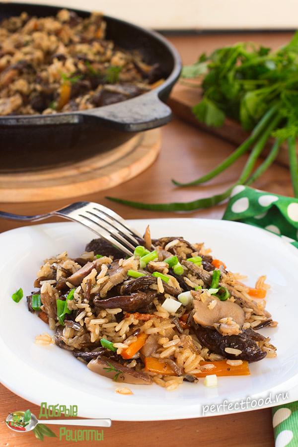 Бурый и дикий рис с грибами - рецепт с фото и видео