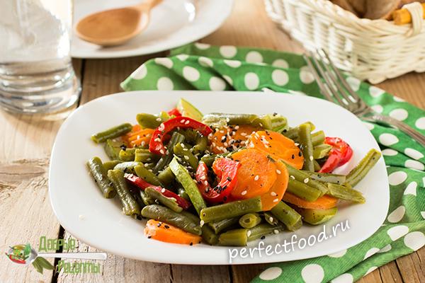 Как приготовить зелёную фасоль с овощами - рецепт с фото и видео